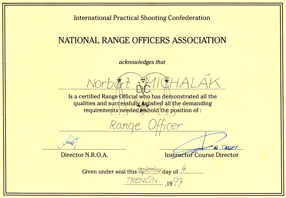 Certified : Range Officer – 1993
