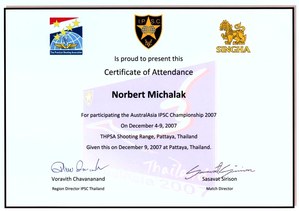 Certificate of Attendance – Pattaya Thailand