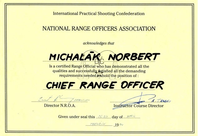 Certified : Chief Range Officer – 1994