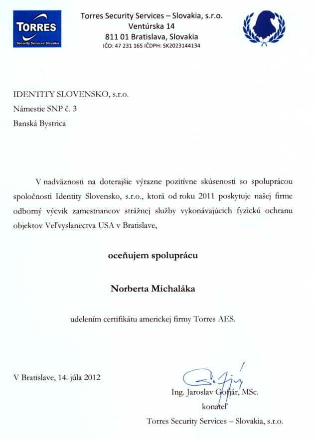 Referenčný list Torres